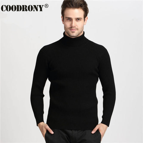 Cashmere Sweater Men Turtleneck Mens Sweaters Slim Fit Pullover Men Knitwear Double collar