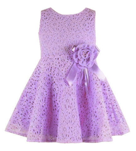 Baby   Girl Dress  Laced Sleeveless  Flower  Dress  Newborns 0-24 months