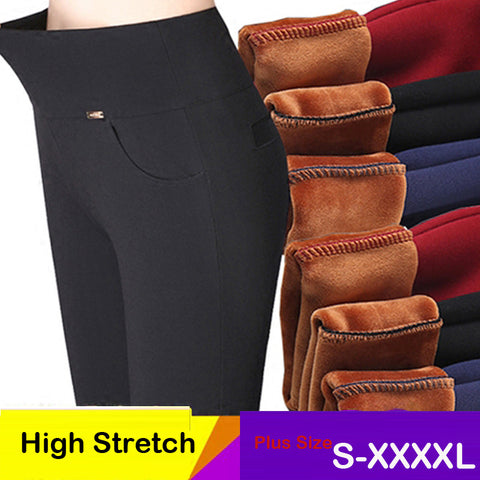 2017 women pants stretch Warm velvet ladies pencil pants black blue White High Waist trousers