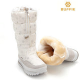 Women boots plush warm lady shoe easy wear zipper up girl white colour flower snow boots