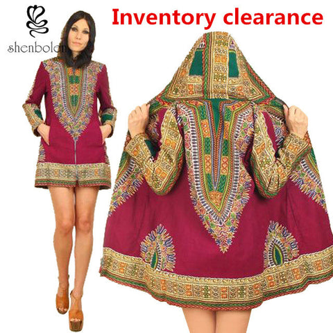 Fashion hoodies jacket Africa long sleeve printed dashiki women classic batik prining cotton coat