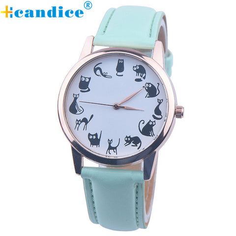Cat Pattern Watch Women Fashion Casual Wristwatch Quartz