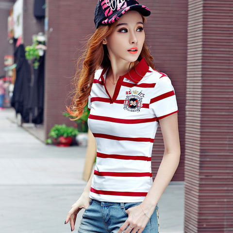 High Quality Womens Striped Poloshirt Cotton Females Shirts Polo Raph polo hemd polo femme cheval