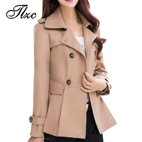 Lady Casual Short Trench Plus Size New Autumn Turn-down Collar Solid Color Woman Fashion Slim Coats