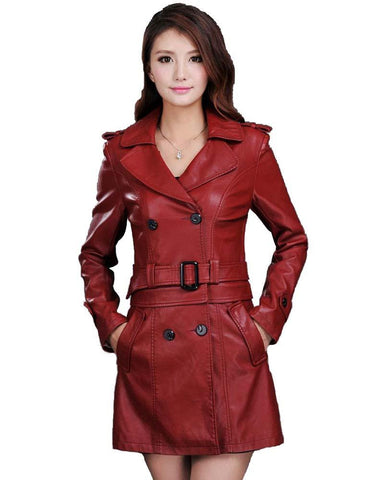 Leather Jacket Women Slim Removable Ladies Faux Synthetic Long Leather Trench Coat Female