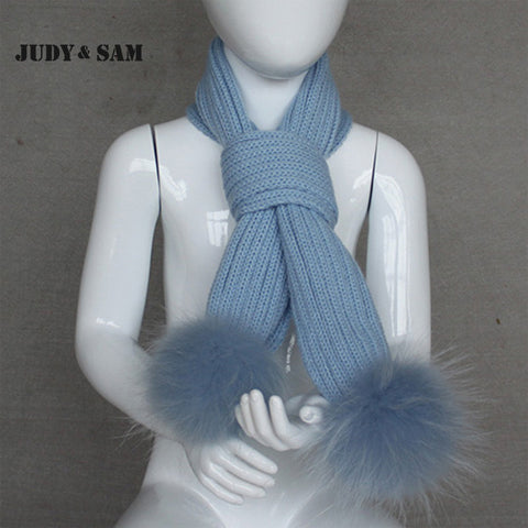 New Design  Scarves Knitted  Warm  Matching Colorful Raccoon Fur Pom Pom Winter Scarf