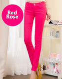 Women Sexy Candy Color Pencil Skinny Pants With Cotton Fashion Trousers Fit Lady jeans