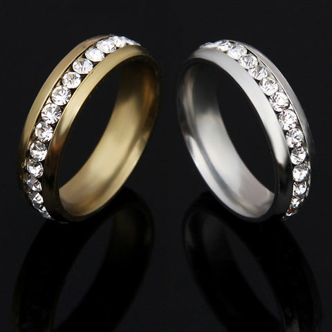 White Gold Plated AAA Crystal Rings For Men Stainless Steel Rhinestone Jewelry