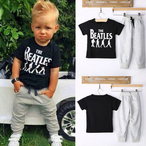 Kids Clothes Sets Short Sleeve Boy T-shirt Pants Suit