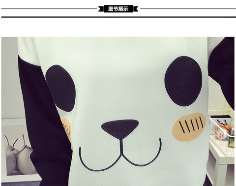 New College Wind Women Hoodies Fashion Cartoon Panda Sweatshirts Casual Printed Mixed Color