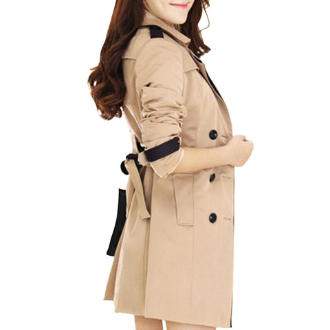 Women Fashion Trench Coat Turn Down Collar Double Breasted Patchwork Belt Vintage Trench