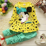 Baby Girls Clothes Set Long-Sleeved Dot T-shirt+Pant Outfit Age 0-12 months