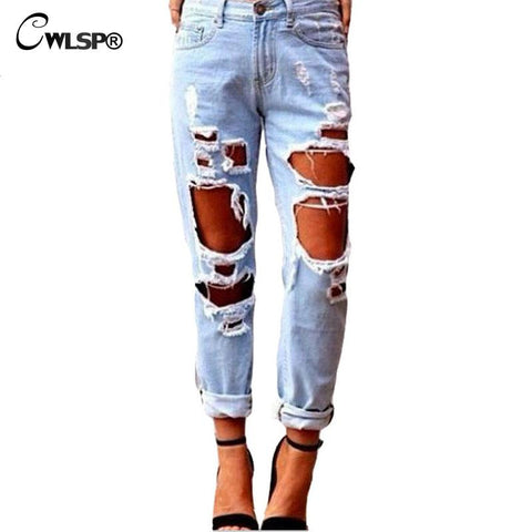 Fashion Ripped Jeans Femme Casual Washed Holes Boyfriend Women Long Torn Jeans Wild Denim Pants