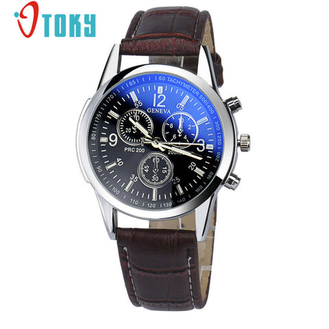 Men Brwon Luxury Fashion Faux Leather Strap Blue Ray Glass Dial Quartz Watch