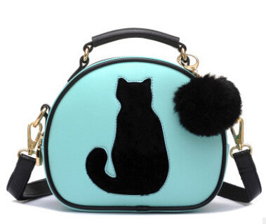 Cat Printing Ladies Crossbody Bags Circle Women Leather Handbags with Fur Ball Women Messenger Bag