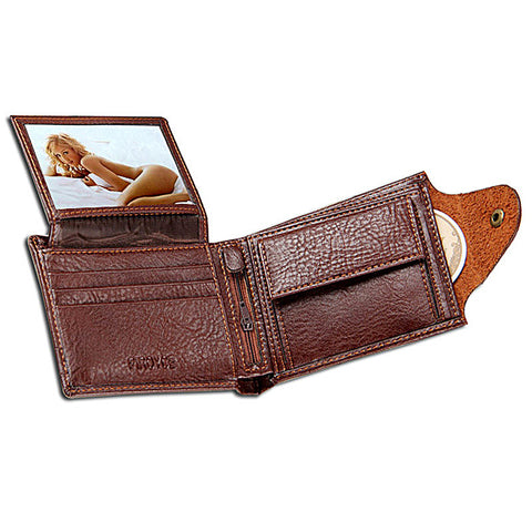 Men Wallets Leather purse with coin pocket  wallet zipper bag