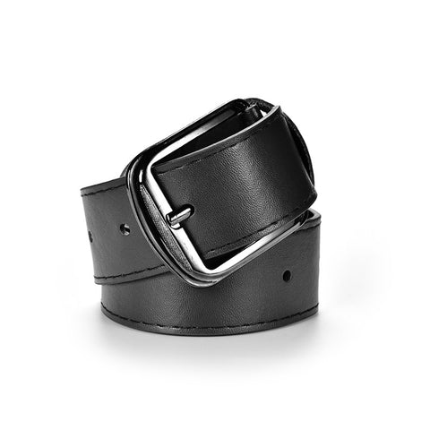 New Brand 3 Colors Metal Buckle Casual Belts for Men Pu Leather Men's Waist Belt