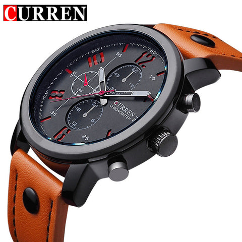 Curren Men's Sports Quartz Watches Leather Wristwatches Relogio Masculino Men Curren Watches 2016