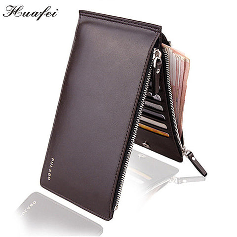 Men Wallet Double Zippers Business Men  Purse Ultrathin Coin Wallet and Card Holders