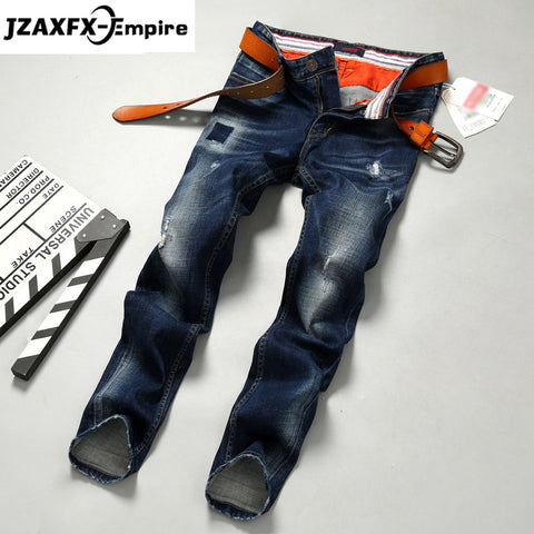 Men Jeans Fashion  Casual Straight Denim Jeans Men's  Slim fold denim Jeans Full Length