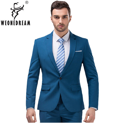 2 Pieces (Jackets+Suit Pants)  Mens   Fashion Brand Slim Fit  Suit