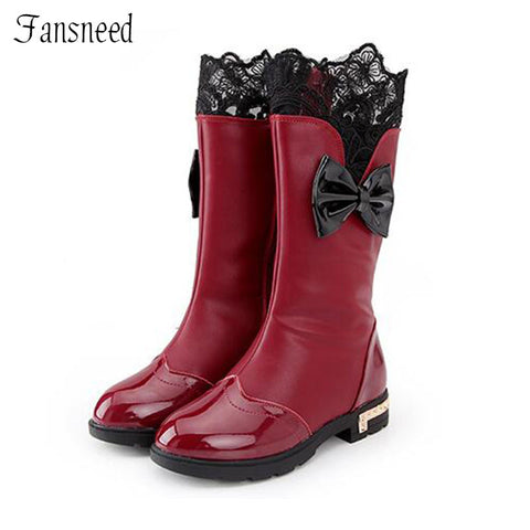 Girls Shoes Autumn New High-top  Bow Casual Boots