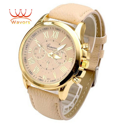 Luxury Brand Women Watch Leather Brand Roman Numerals