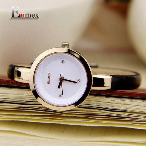 Enmex women creative slim strap wristwatch   elegance fashion quartz lady watches