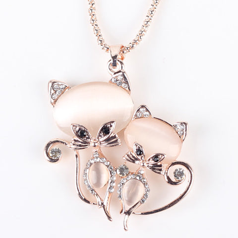 Cat Necklace Long Pendant  Brand Crystal  Zinc Alloy Chain
