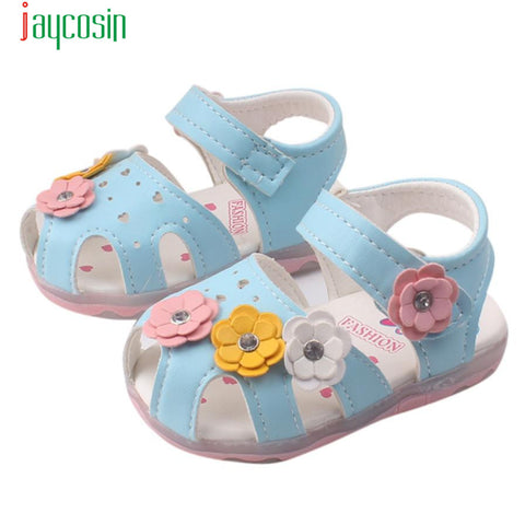 New Flowers Girls Sandals Lighted Soft-Soled Princess Baby Shoes