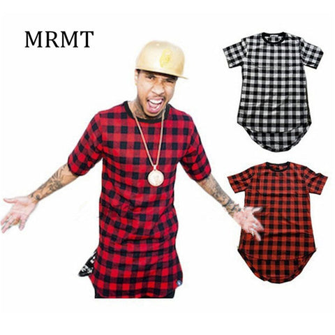Mens Checked Shirt Hip Hop plaid t shirt Zipper Hiphop Swag T-shirts Streetwear Mens Tshirt