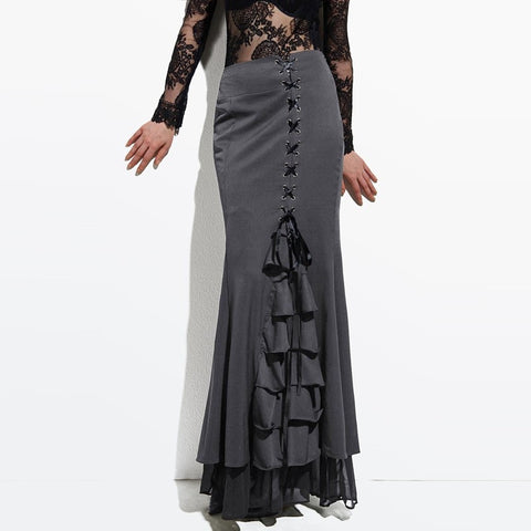 Long Skirt Frilly Women Sexy Fishtail Corset Lace-Up Slim Floor-Length Vintage trumpet skirts