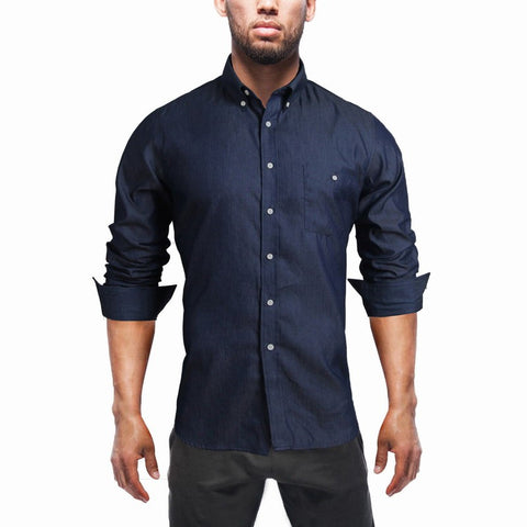 Men's Denim Shirts Long Sleeve Turn-down Collar Fashion Slim Fit Style Dark Jeans Men Shirt