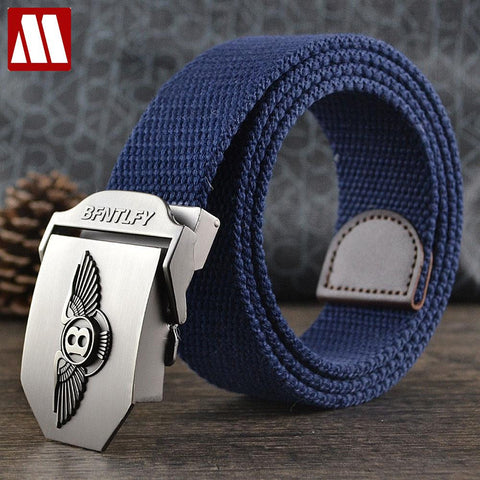 Men's Canvas Belt  Tactical Smooth Alloy Buckle + Leather + Canvas Straps