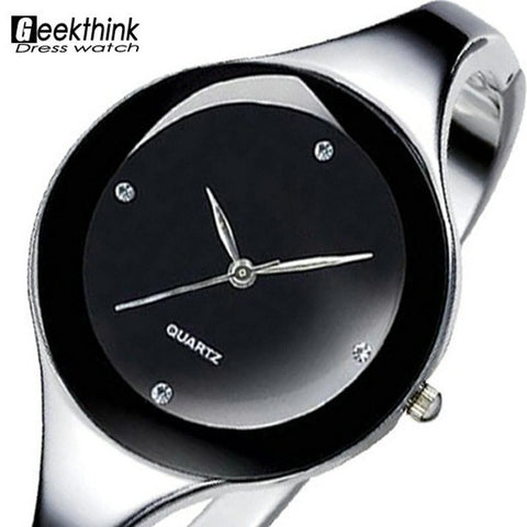 Stainless steel Wristwatch Bracelet Quartz watch Woman Ladies  Clock