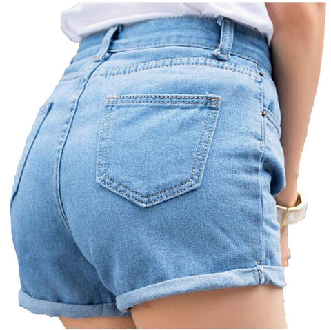 High waist Women denim shorts Blue loose short female thin curling fashion lager size short jeans