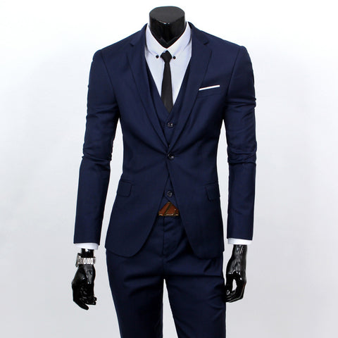 (Vest + suit + pants)  men's fashion three-piece formal blazer suit