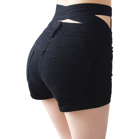 Hollow Out Black Skinny High Waist Shorts New Women White Slim Sexy Denim Shorts Plus Size Short