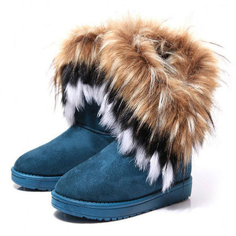 Fashion Fox Fur Warm Autumn Winter Wedges Snow Women Boots Shoes