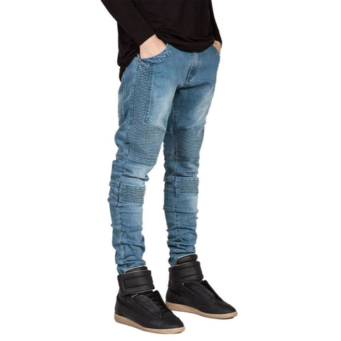 Famous Brand Men Straight Slim Fit Biker  Trousers Jeans Men Biker Denim skinny Jeans Men