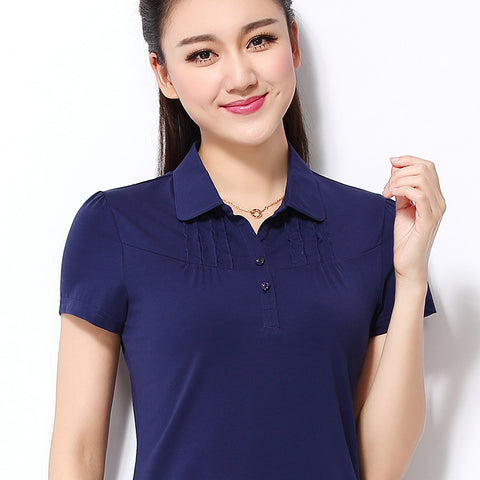 New Women's Polo Shirt Cotton Loose Solid Folds Short-sleeve Tops Plus size