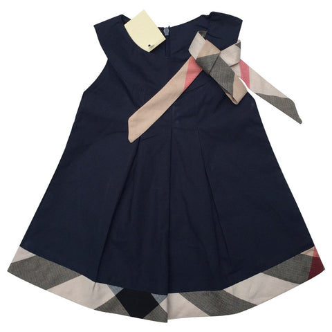 Baby dress casual kids clothes fashion bow baby clothing  cotton child outfits plaid costumes