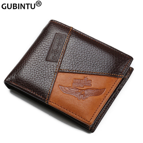 Genuine Leather Men Wallets Coin Pocket Zipper