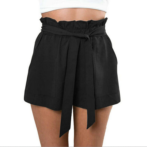 Fashion Women Casual Shorts Design Patchwork High Waist Shorts Loose Fashionable Shorts with Belt