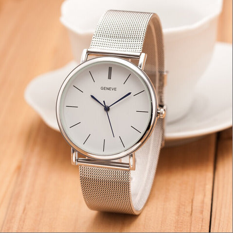 New Famous Brand Silver Casual Geneva Quartz Watch Women Metal Mesh Stainless Steel