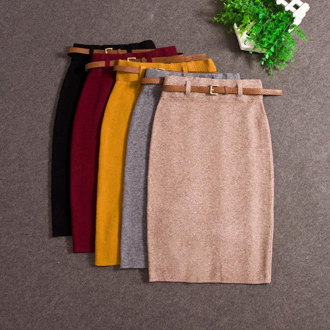 High Quality Casual Women High Waist Knee-length Knitted Pencil Skirt Elegant slim Long Skirts