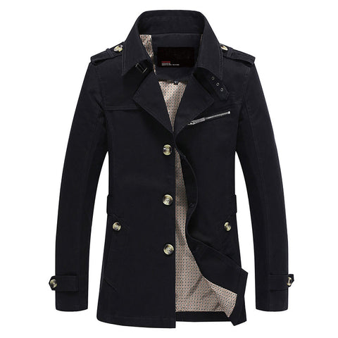 Men Jacket Coat Long Section Fashion Trench Coat  Brand Casual Fit Overcoat Jacket Outerwear