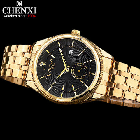 Gold  Men Watches  Luxury Famous Wristwatch Clock Golden Quartz Wrist Watch Calendar Relogio Masculino