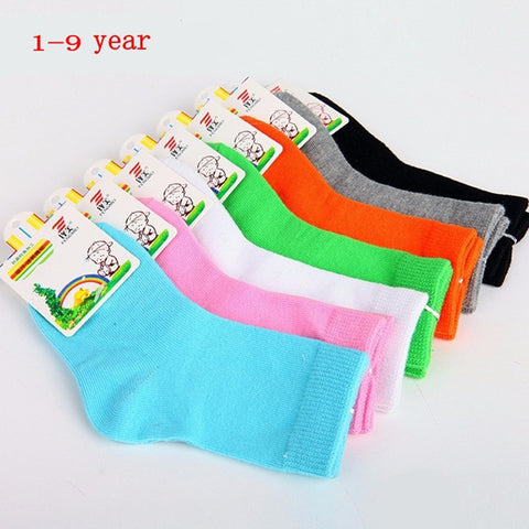 Candy color cotton children socks for girls/boys socks 1-9 year