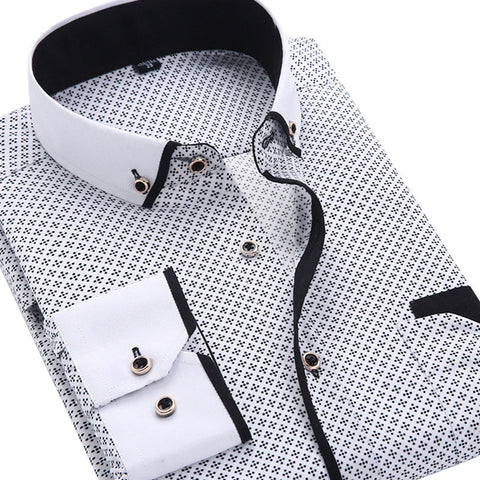 Men Fashion Casual Long Sleeved Printed shirt Slim Fit  Social Business Dress Shirt